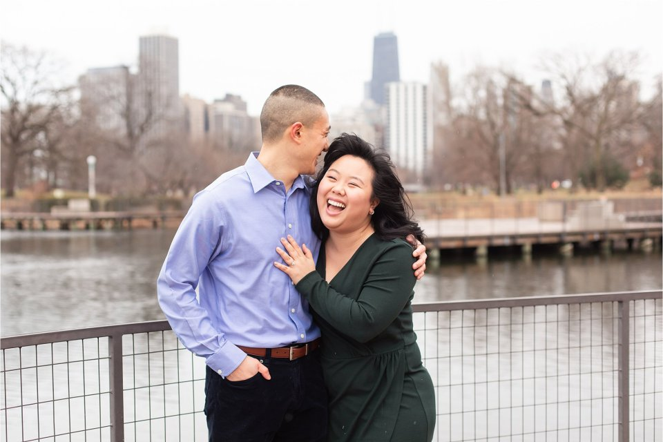 Winter engagement session at Nature Boardwalk at Lincoln Park Zoo in downtown Chicago