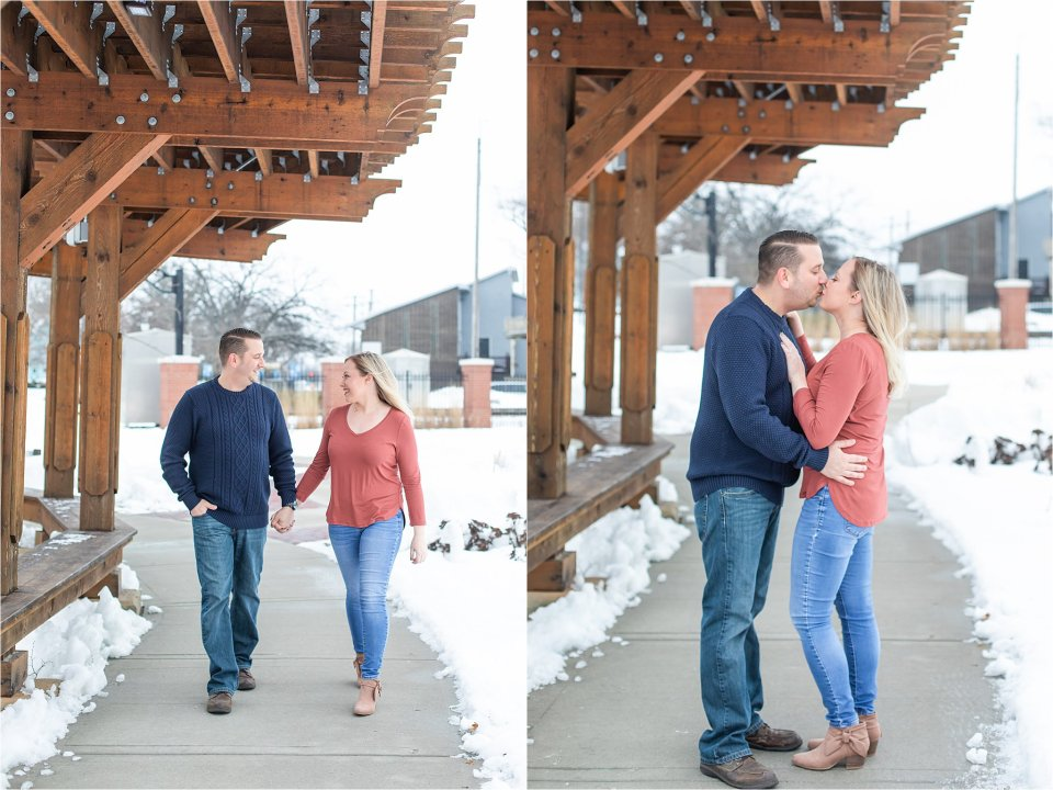 Downtown Grayslake Winter Engagement Session