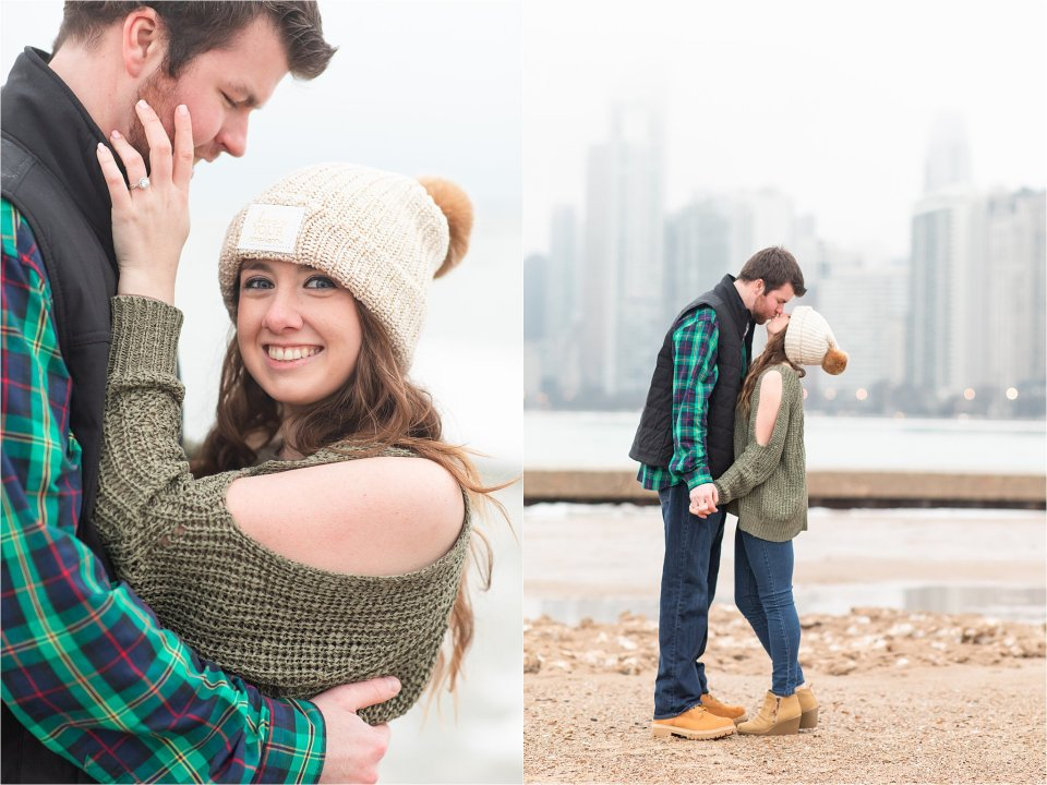 North Avenue Beach Winter Engagement Photography