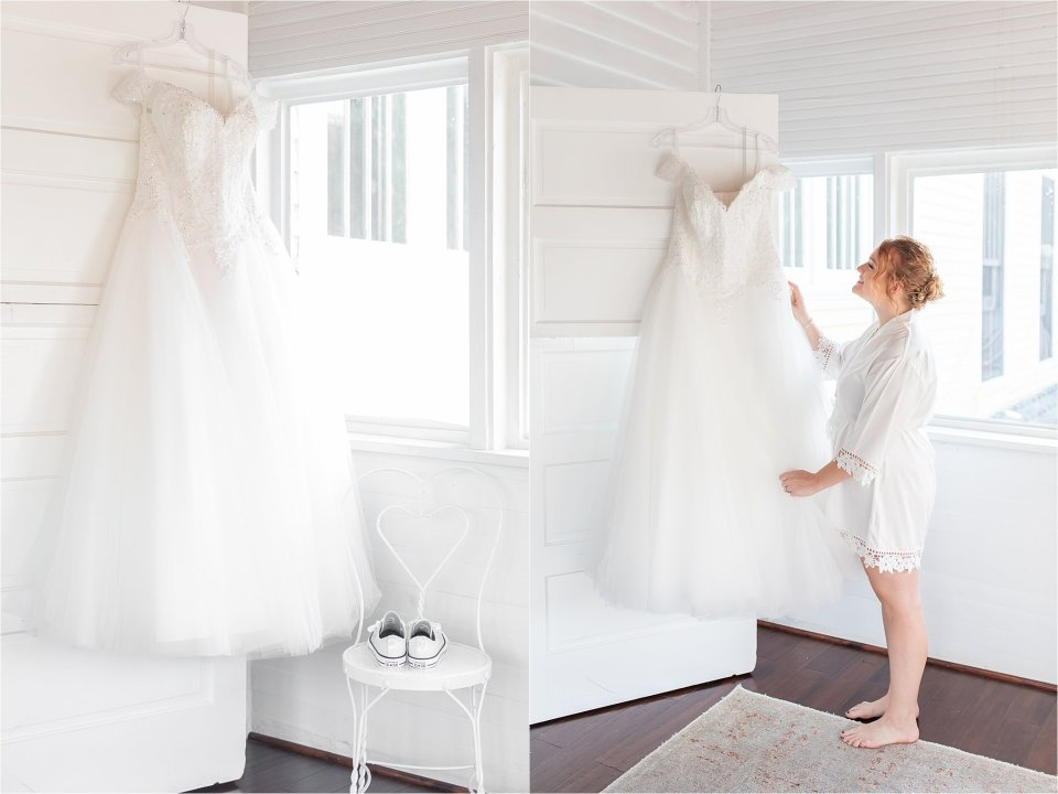 Bride and dress in Heitman House wedding in downtown Ft Myers, Florida