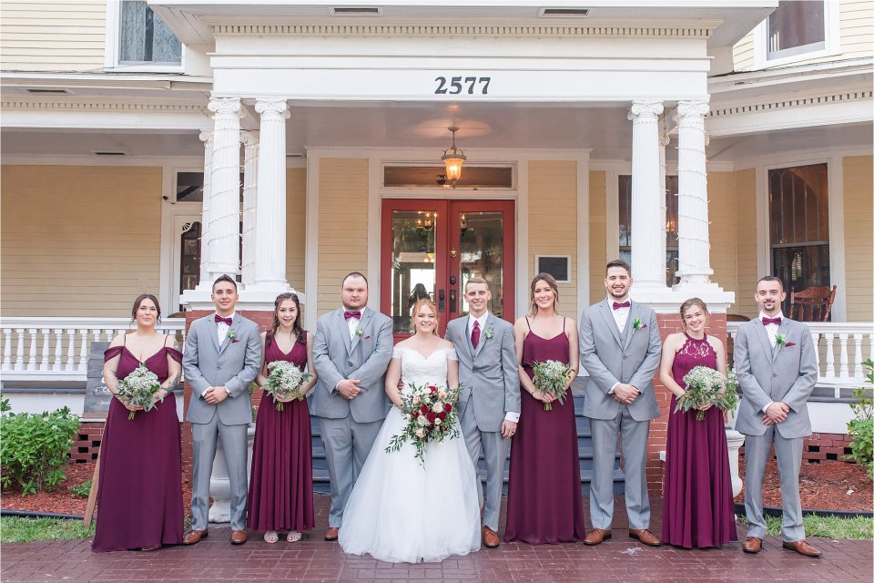 Spring wedding ceremony outside at Heitman House in downtown Ft Myers, Florida wedding venue