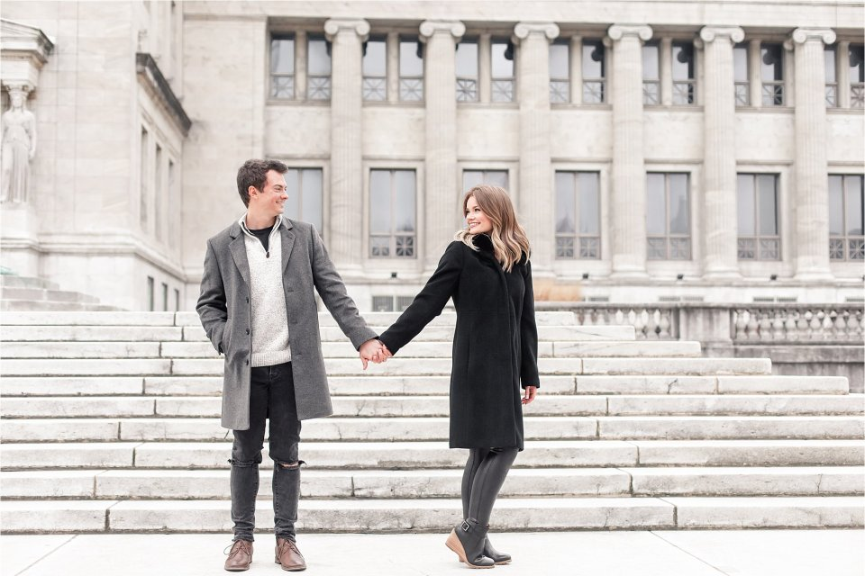 Classic engagement session at beautiful Field Museum Campus in Chicago by Karen Shoufler
