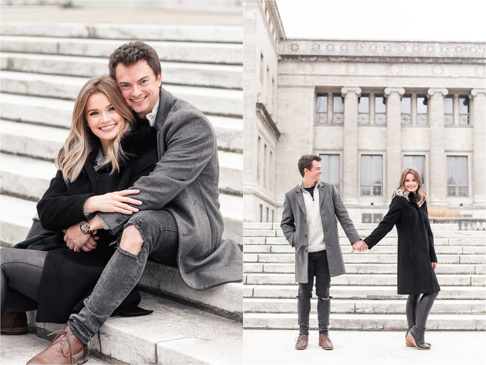 Winter engagement session at Field Museum in Chicago by Karen Shoufler
