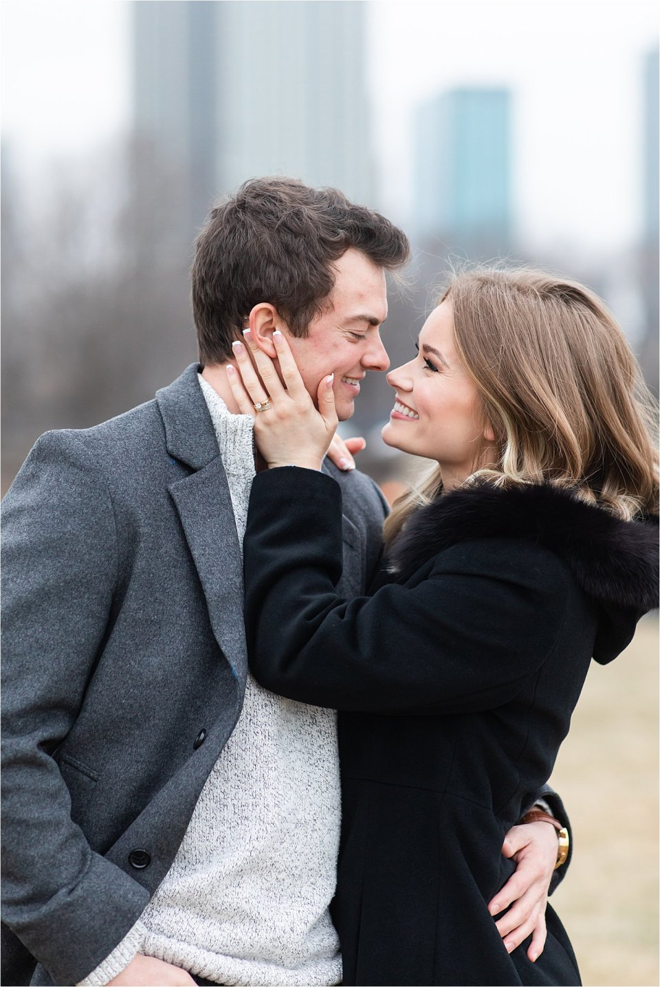 Classy winter engagement session at Field Museum in Chicago by Karen Shoufler