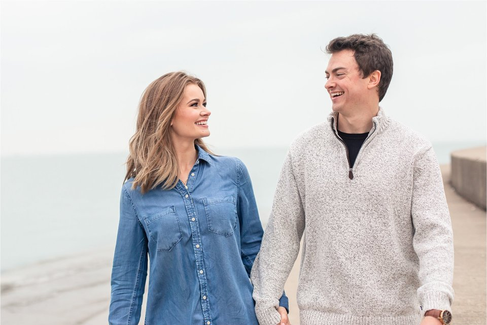 Fun spring engagement session at museum campus and Lake Michigan in Chicago by Karen Shoufler
