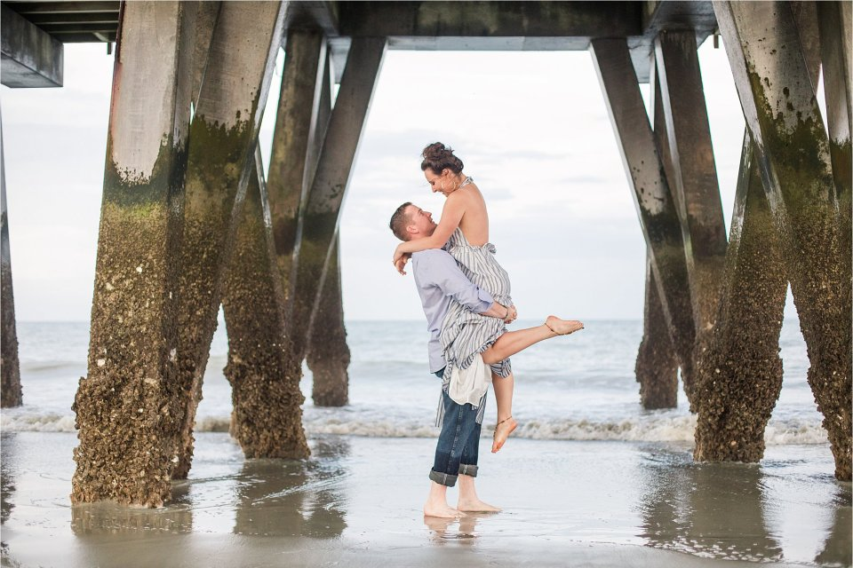 Tybee island pier engagement photography at sunset