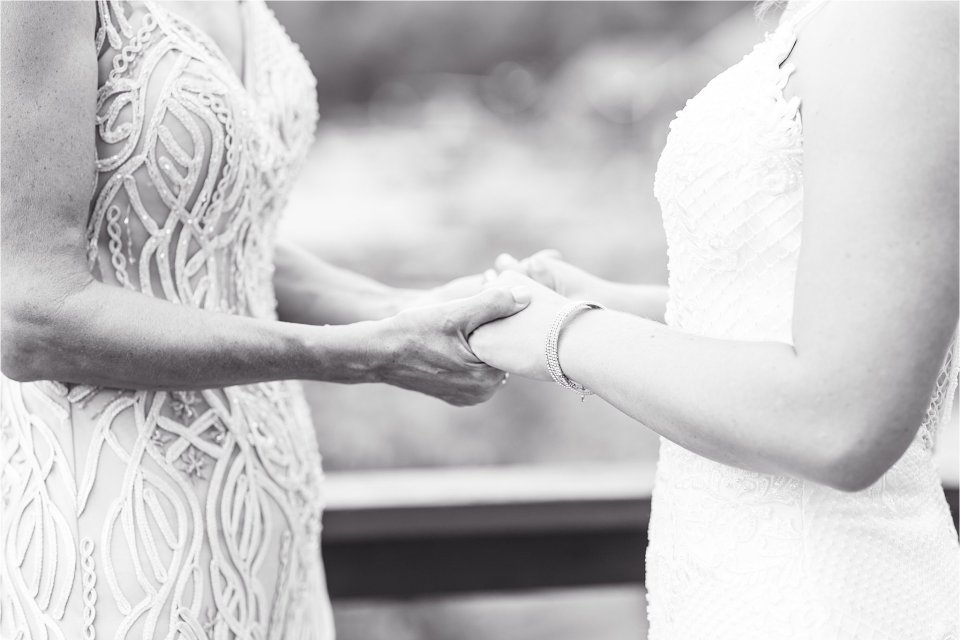 Bride and mother hands at Egyptian Hills Resort on Lake of Egypt