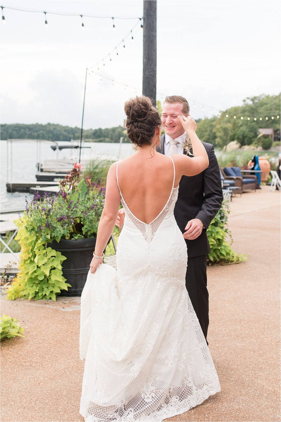 Bride and groom first look at Egyptian Hills Resort wedding