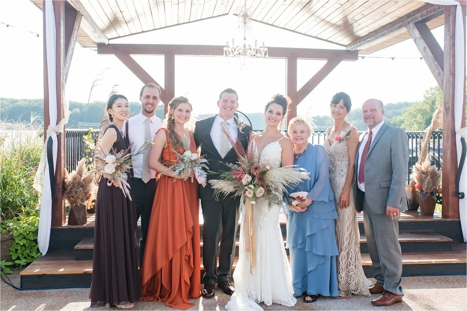 family portrait at Lake of Egypt wedding