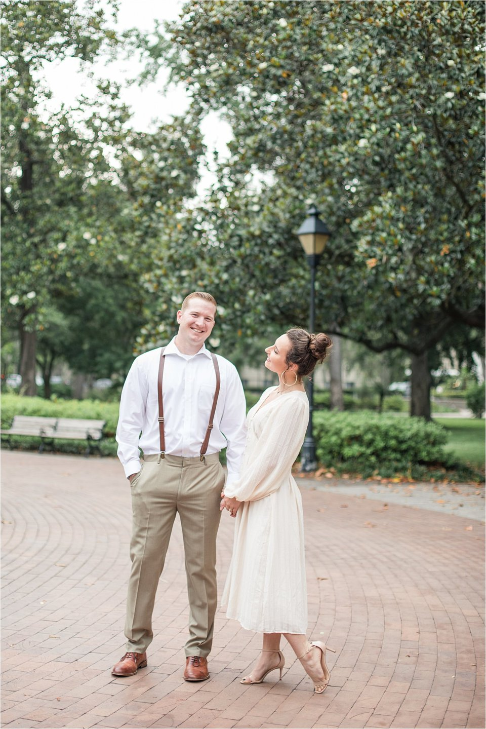Couple at Forsyth Park in Savannah, GA by destination photographer Karen Shoufler