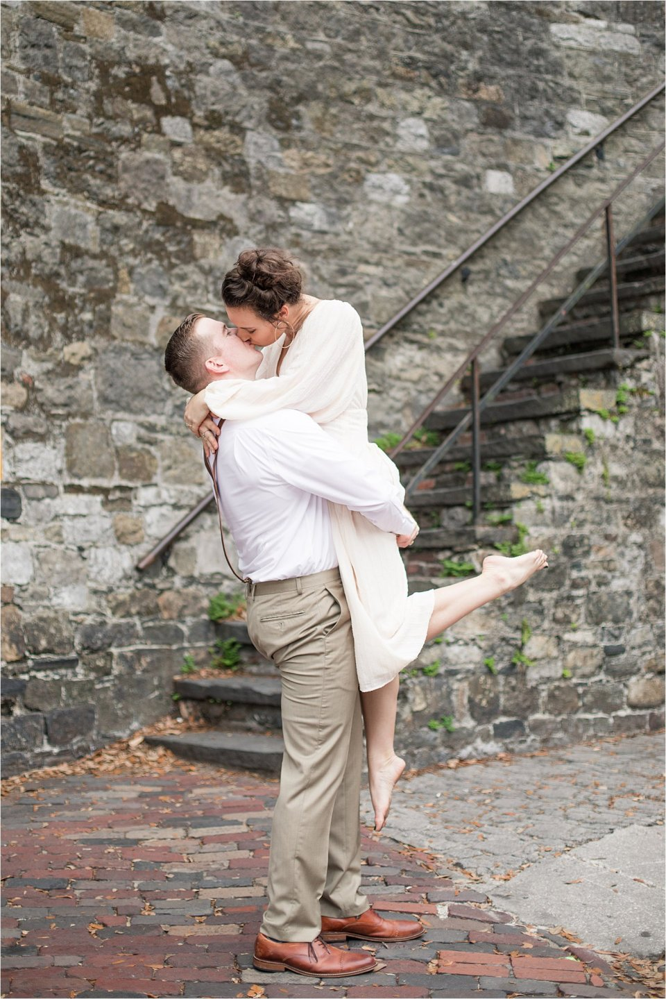 Couple in downtown Savannah, GA by destination photographer Karen Shoufler