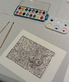 Stage one of painting print © Carrie Carlson photo © 2015 Karen A. Johnson