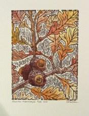 Bur Oak painted leaves print © Carrie Carlson photo © 2015 Karen A. Johnson
