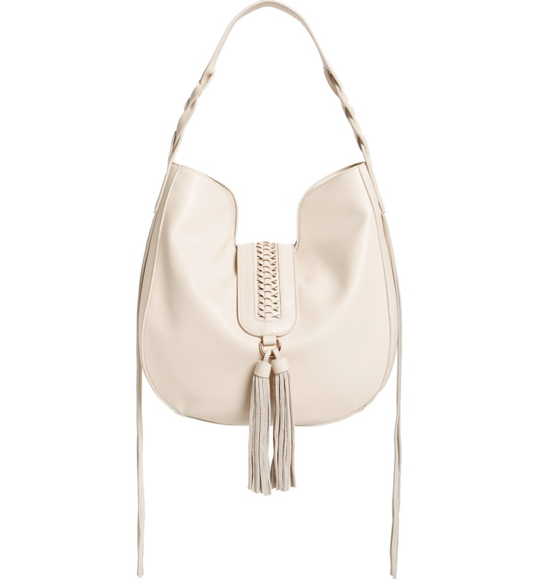 Phase 3 Lace-Up Tassel Faux Leather Hobo