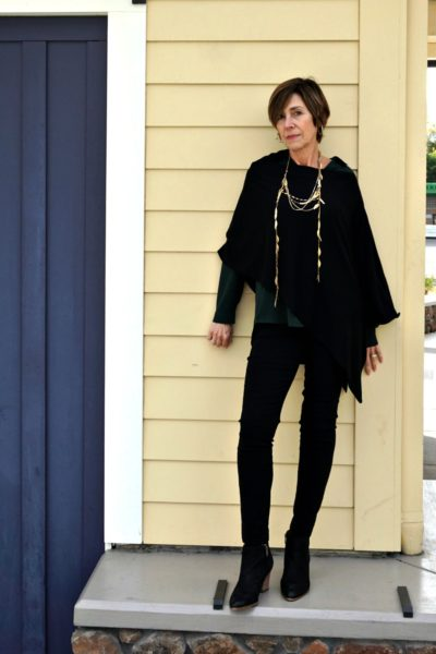 Black Asymmetrical Poncho with Stella & Dot Necklace