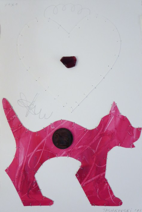 "Karen Tashkovski, Ruby, 11"" x  7 1/2"", 2001, mixed media paper collage, $50"