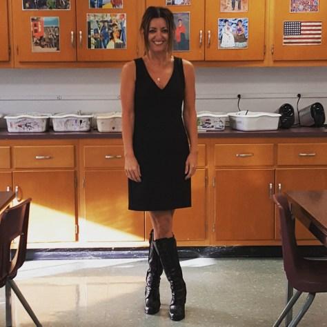 Trina Turk dress, Ralph Lauren boots