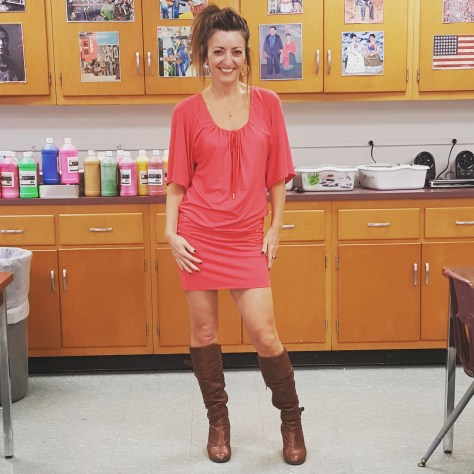 Trina Turk dress, Steve Madden boots