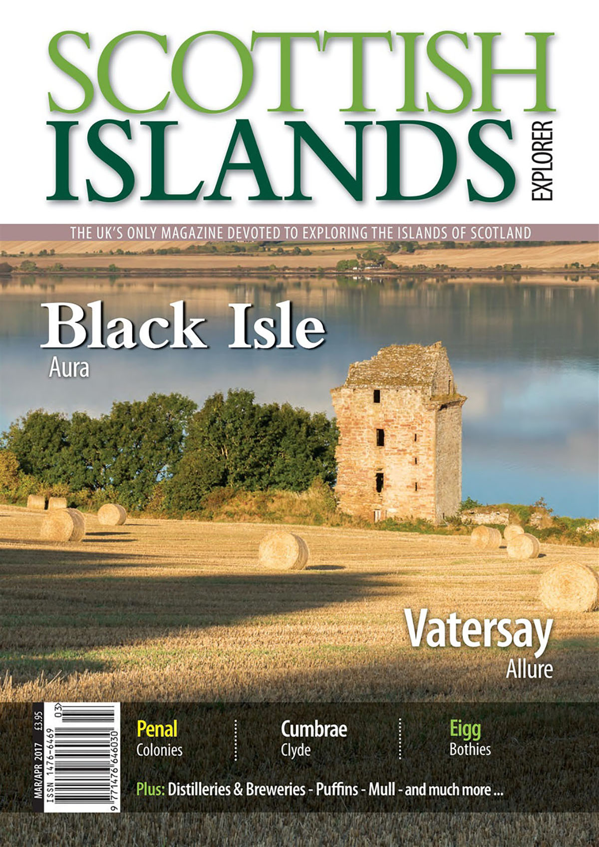 Guest blogger - front cover of Scottish Islands Explorer with an image of a ruined castle in a barley field with water behind