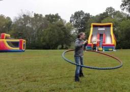 Hooping big hoops in the rain.