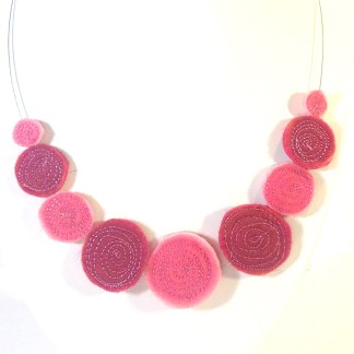 Sparkles necklace made from reclaimed organza and felt - Karhina.com