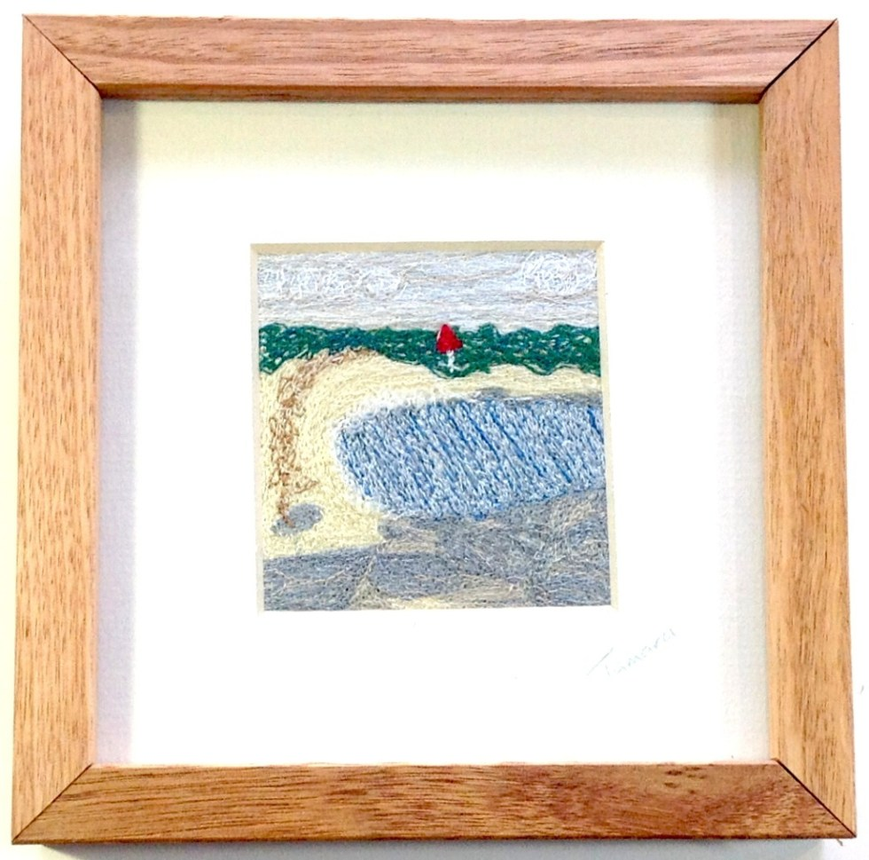 The Cove Freehand machine embroidery using landscape images to create amazing wall art – Tamara Russell – Karhina.com