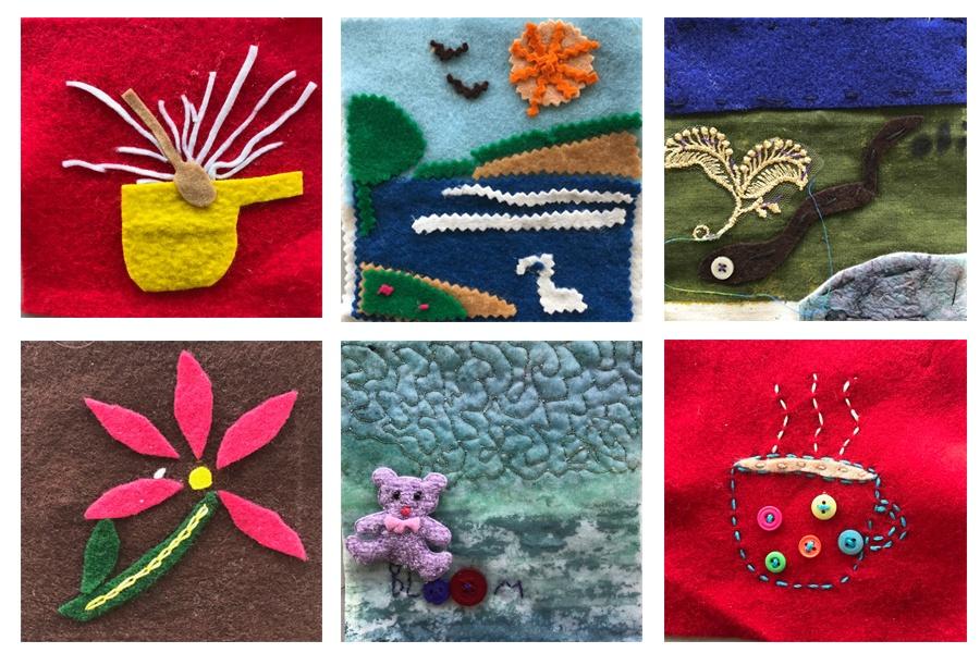 Participants pieces for the Moreland Quilt project