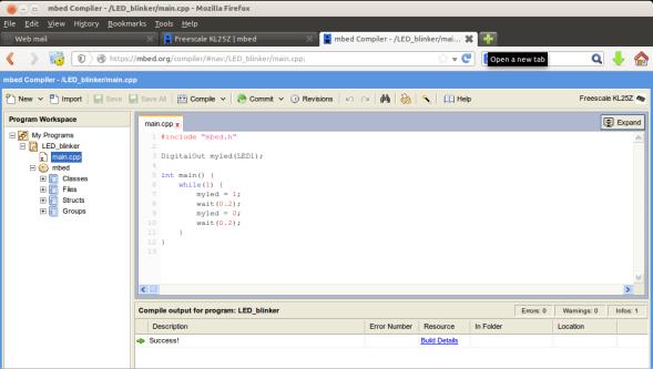 mbed online compiler LED_blink