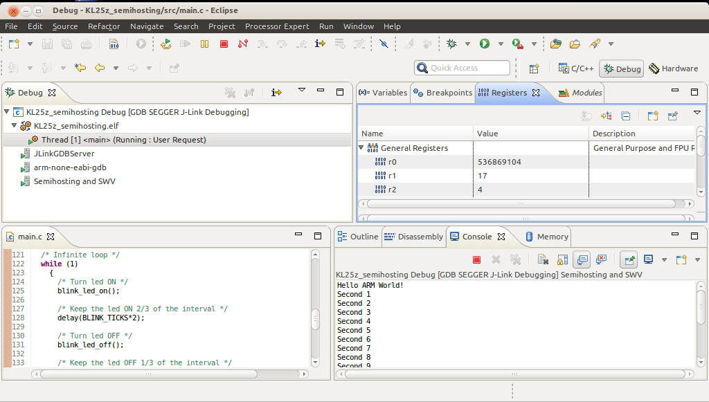 Debugging arm freescale microcontrollers with J-Link GDB
