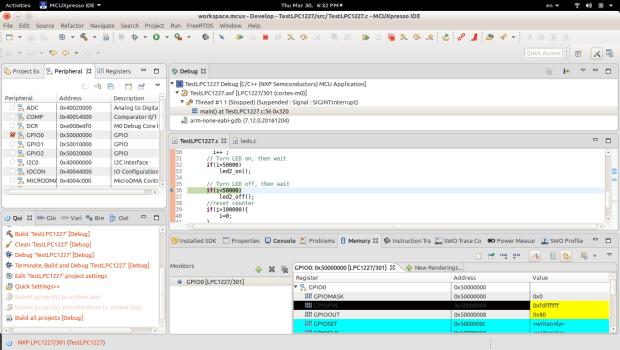 MCUXpresso IDE Develop view