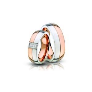 vörös és fehér színű acél karikagyűrű pár AC-10