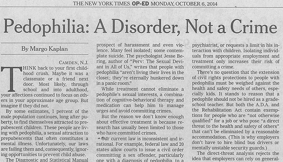 Isječak teksta o pedofiliji, New York Times