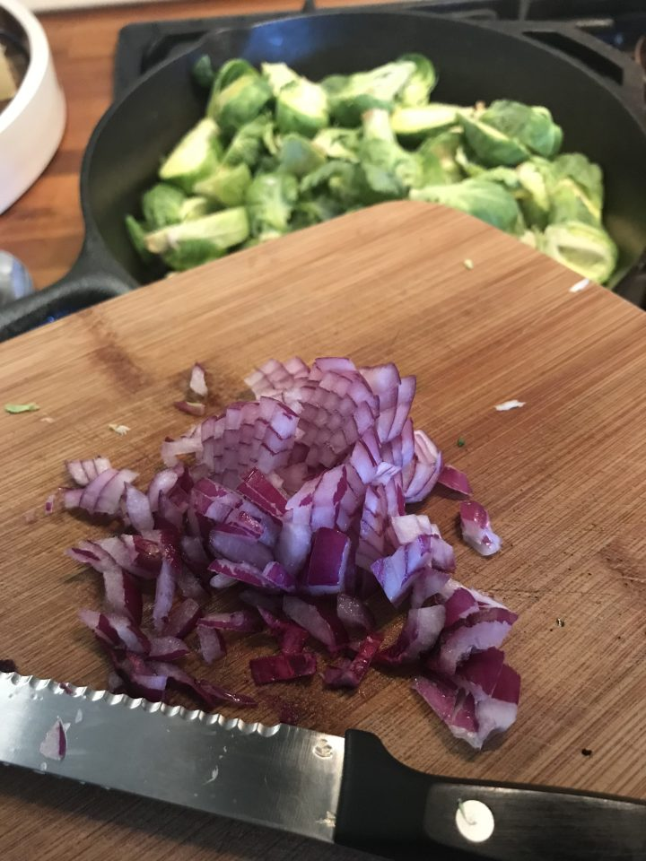 Bacon Brussels Sprouts with Bleu Cheese Sriracha Dip, easy low carb keto friendly recipe