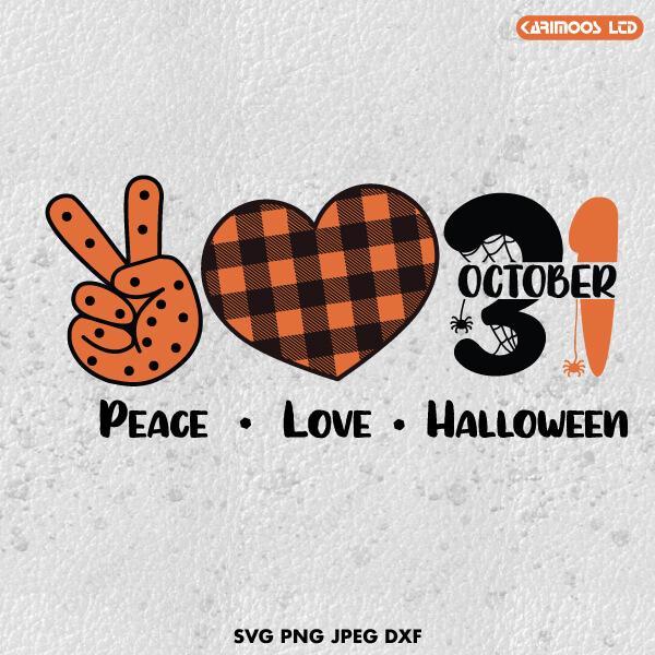Download Peace Love Halloween SVG | Karimoos