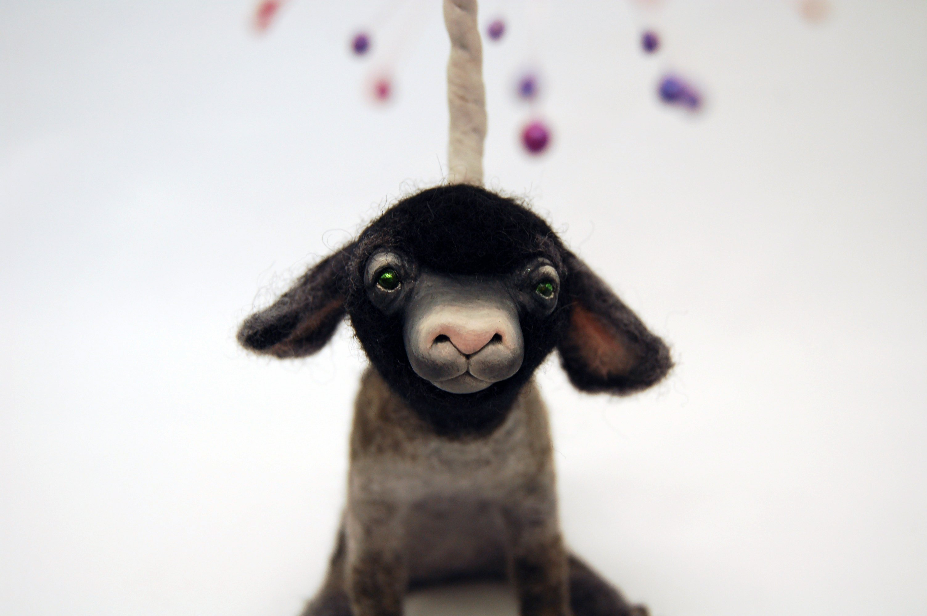 Black spotted felt and clay lamb - karina kalvaitis - all rights reserved