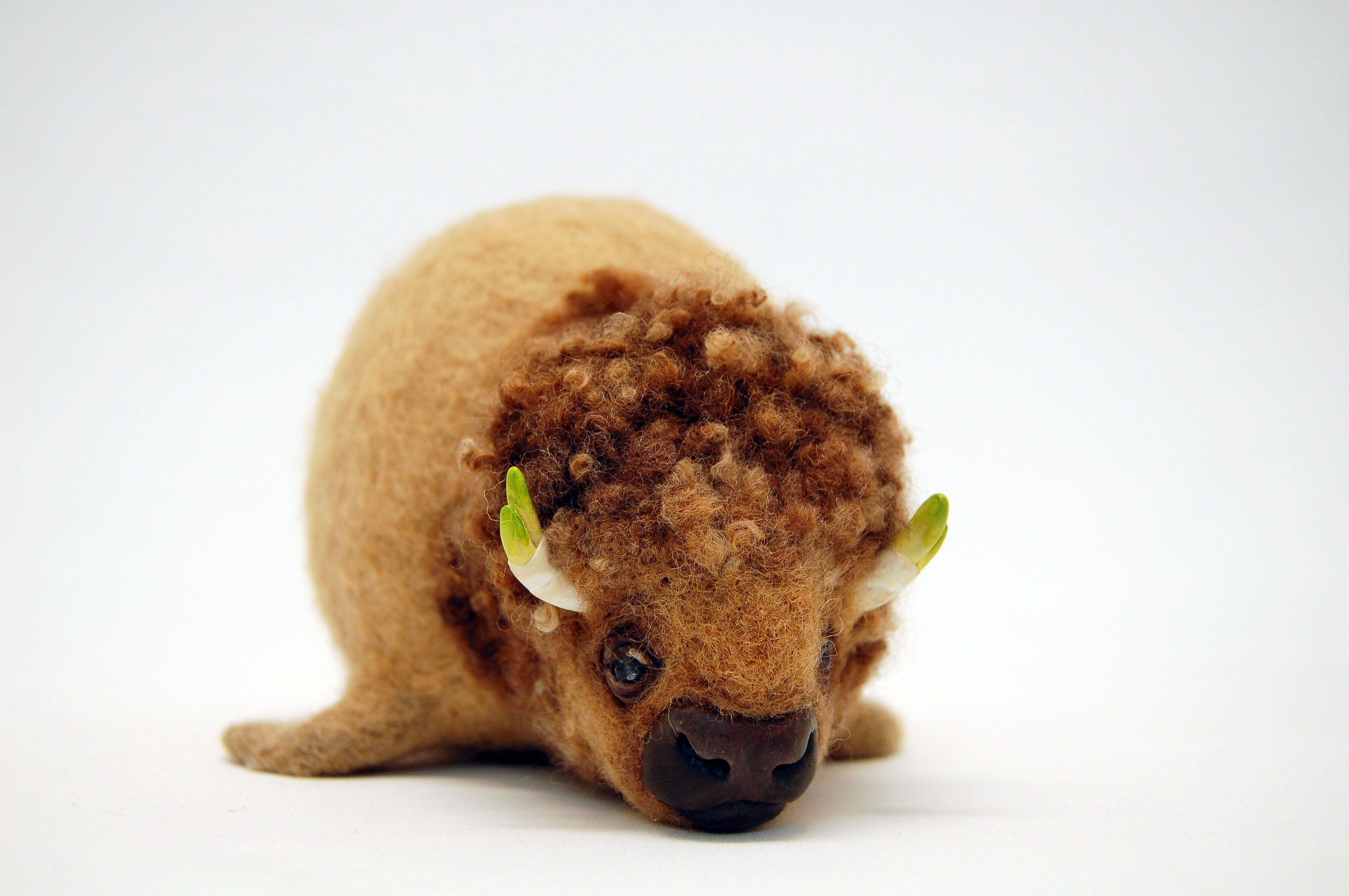 Felt and mixed media buffalo sculpture by Karina Kalvaitis - all rights reserved