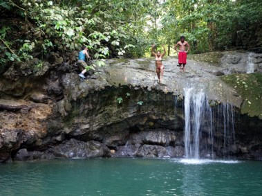 Jumping off the waterfalls at Siete Altares, Guatemala -- Karina Noriega