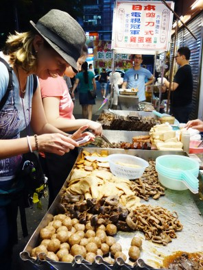 Random animal guts. Fried. My first exposure to this type of cuisine. As you can see by the huge smile on my face, I loved every minute of my food adventure. Taipei, Taiwan - Karina Noriega