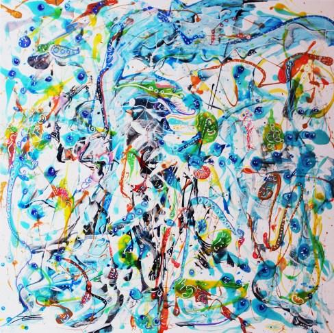 """""""La Pieuvre Eléphant"""" 100x100cm"""