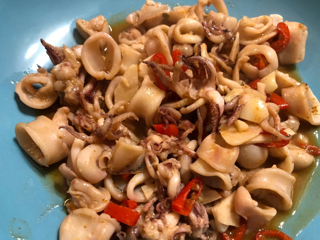 Calamari With Red Chilli And Garlic
