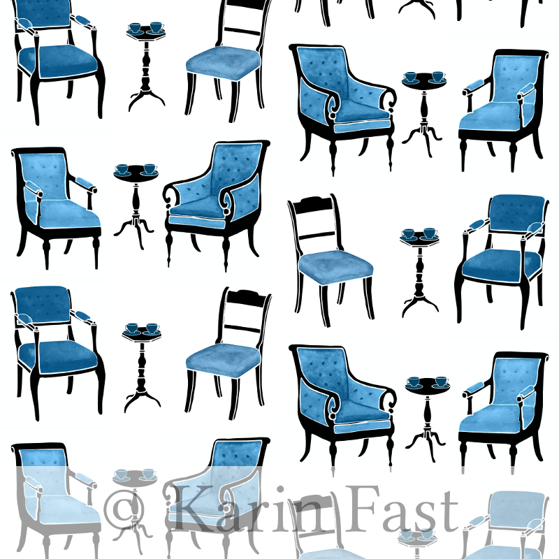 fabric design with blue watercolour chairs