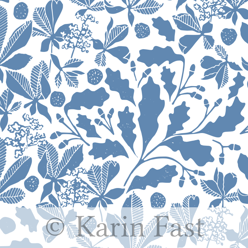 blue chestnut and oak leaves linoprint on fabric
