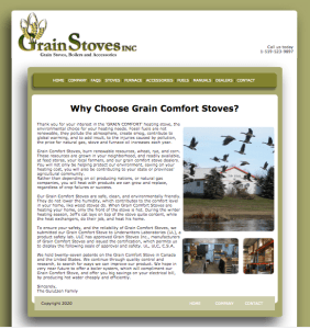 Grain Stoves Inc. Web About Page