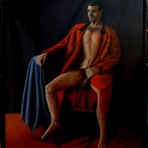 Karin Merx, Prince on his throne, oil on canvas, 71 X 80 cm