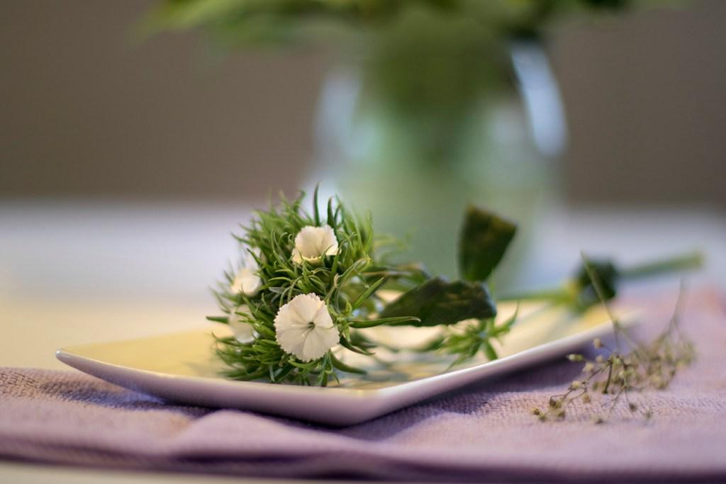 flower on dish