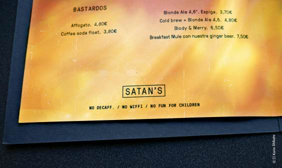 Satan coffee corner Barcelona menu