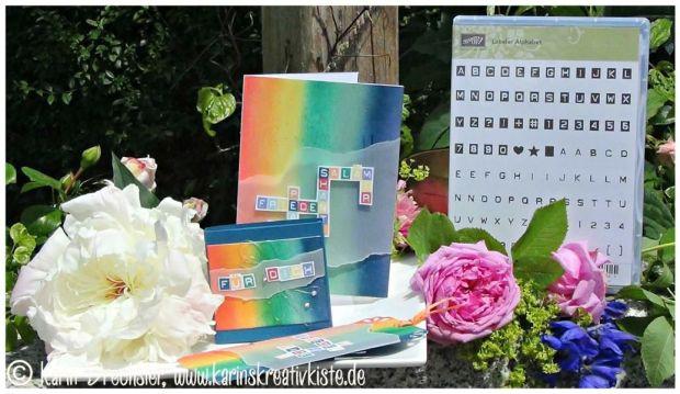 Regenbogen-Set: Karte, Box, Lesezeichen