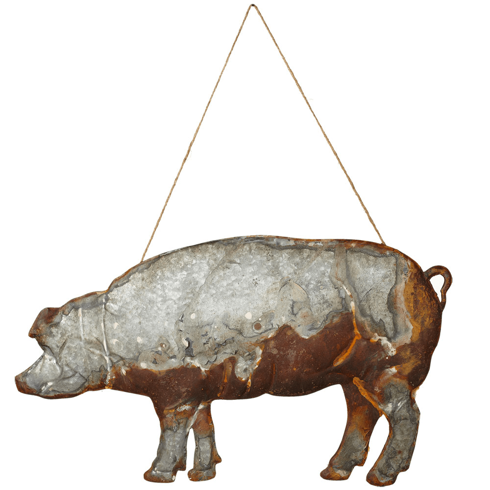 Antiqued Pig Wall Decor with Rope Hanger