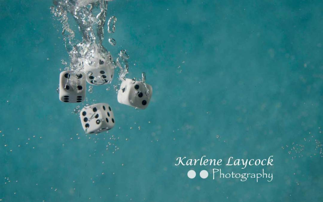 White Dice Falling into Water Series 3