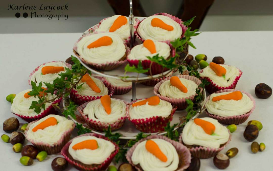 Bake Off 3 Tiers of Cupcakes Topped with Carrots